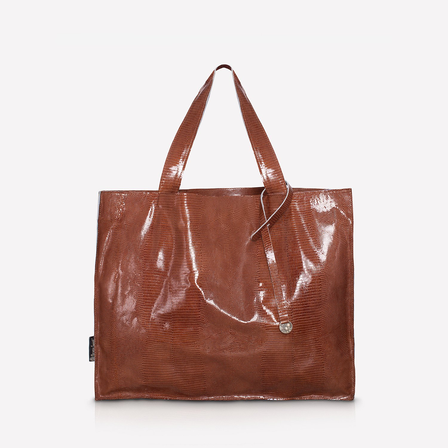 05e657e8e0470 Leather shopper bag rust-colored XXL NO.105