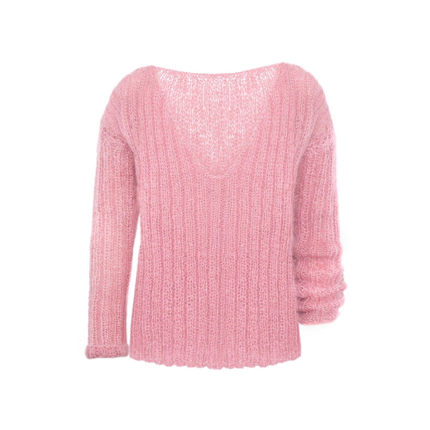 Hand knit pink mohair and wool sweater from Argentina by Bariloche handknit mohair sweater size M mohair sweater pink and white sweater