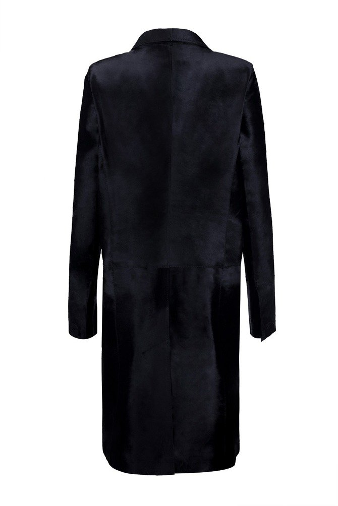 Black Calf Hair Coat