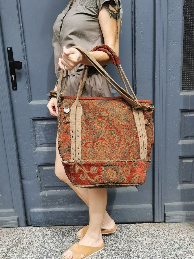 Boho autumn bag with rust - colored paisley pattern NO. 130