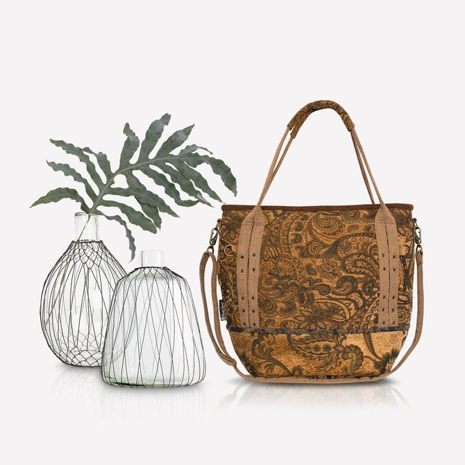 Boho autumn honey - colored bag with paisley pattern NO.128