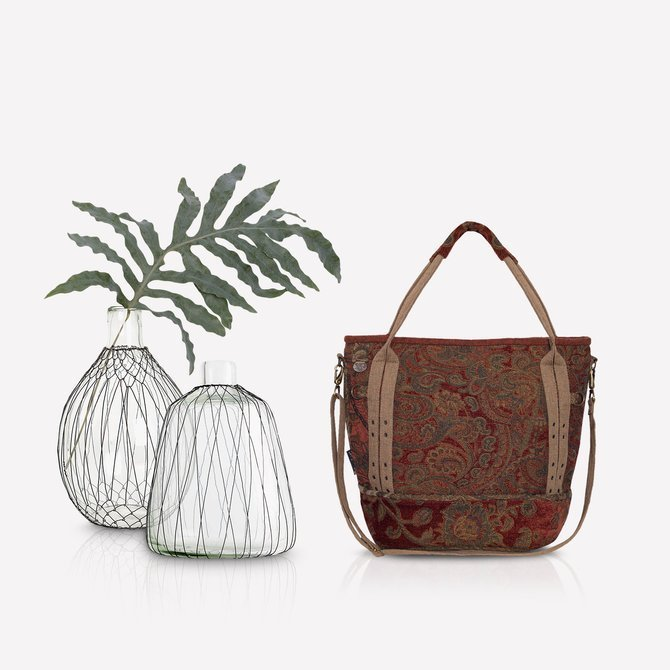 Boho autumn rust - colored bag with paisley pattern NO. 131 (smaller than NO. 130)