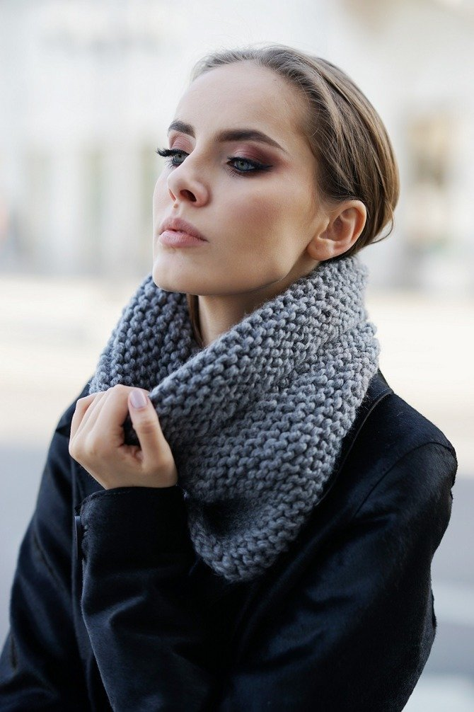 CHUNKY COWL ALPINE WOOL GRAY.