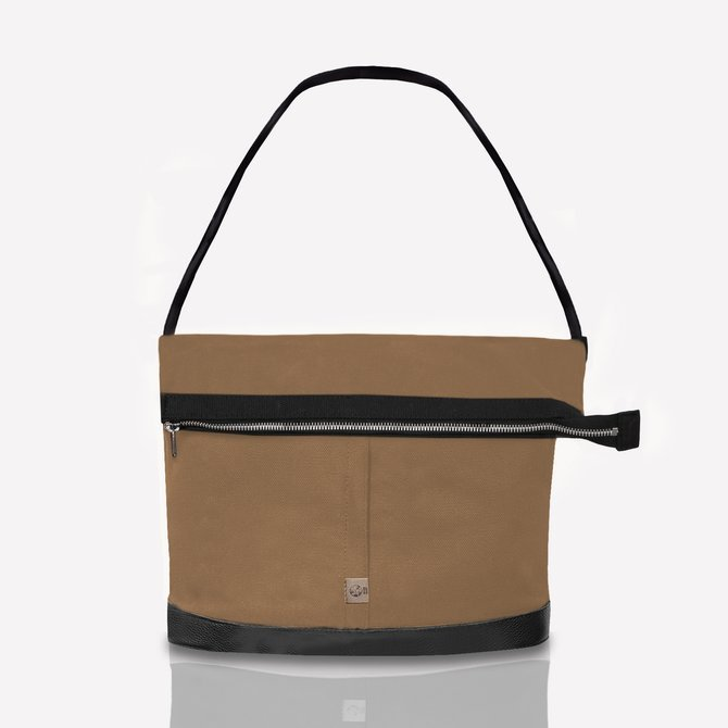 Cotton and leather bag dark beige NO.165