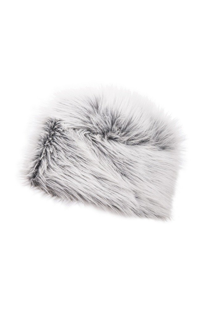 Faux-fur gray fox hat, long-haired.