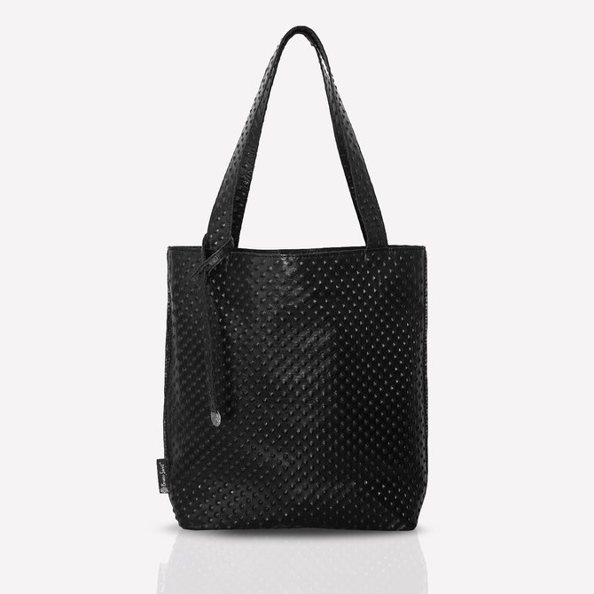 Leather black shoppebag with rock style texture, size: M. NO.138