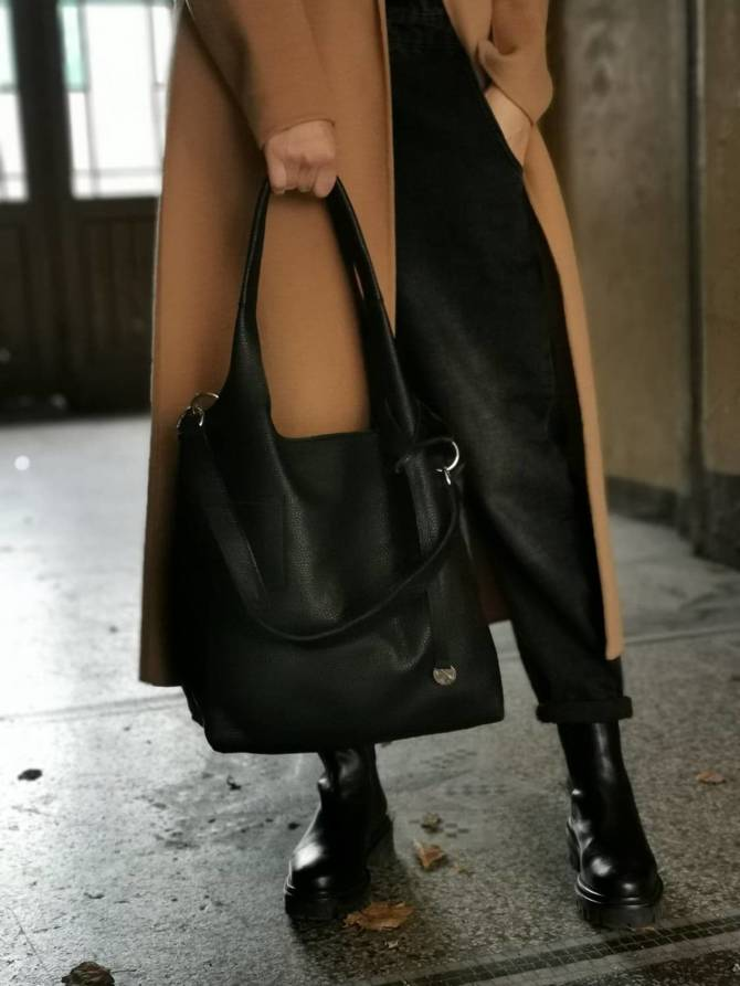 Leather black shopperbag  NO.160