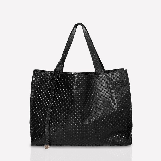 Leather black shopperbag with texture, size: L, NO.143