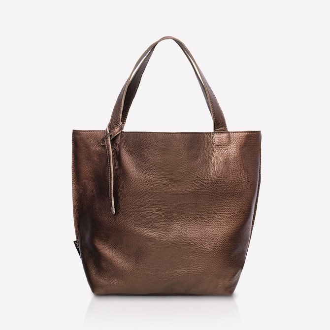 Leather brown - dark gold shopperbag. Size: M. NO.147