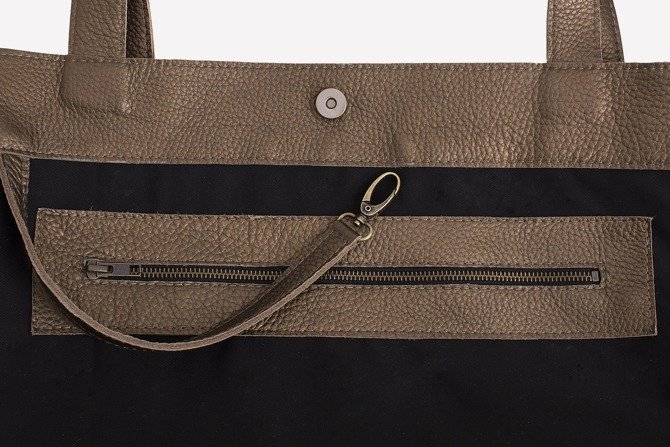 Leather camel - dark gold shopperbag. Size: M. NO.148
