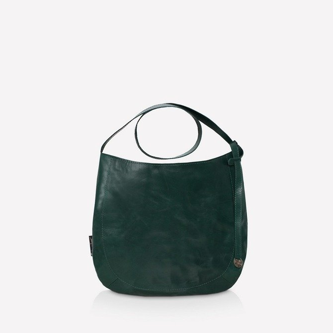Leather green oval - shaped bag NO.116