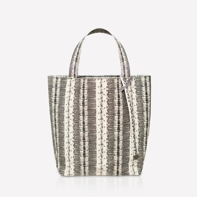 Leather shopper bag black and white snake texture NO.115