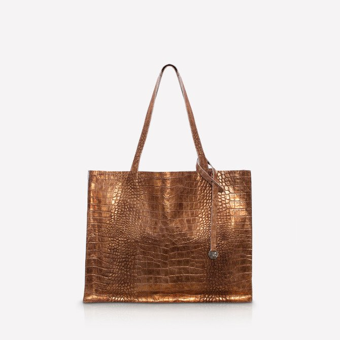 Leather shopper bag, croc texture NO.110