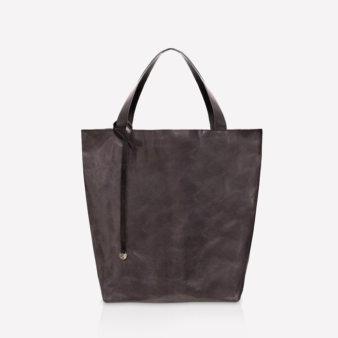 Leather shopper bag gray and black NO.114