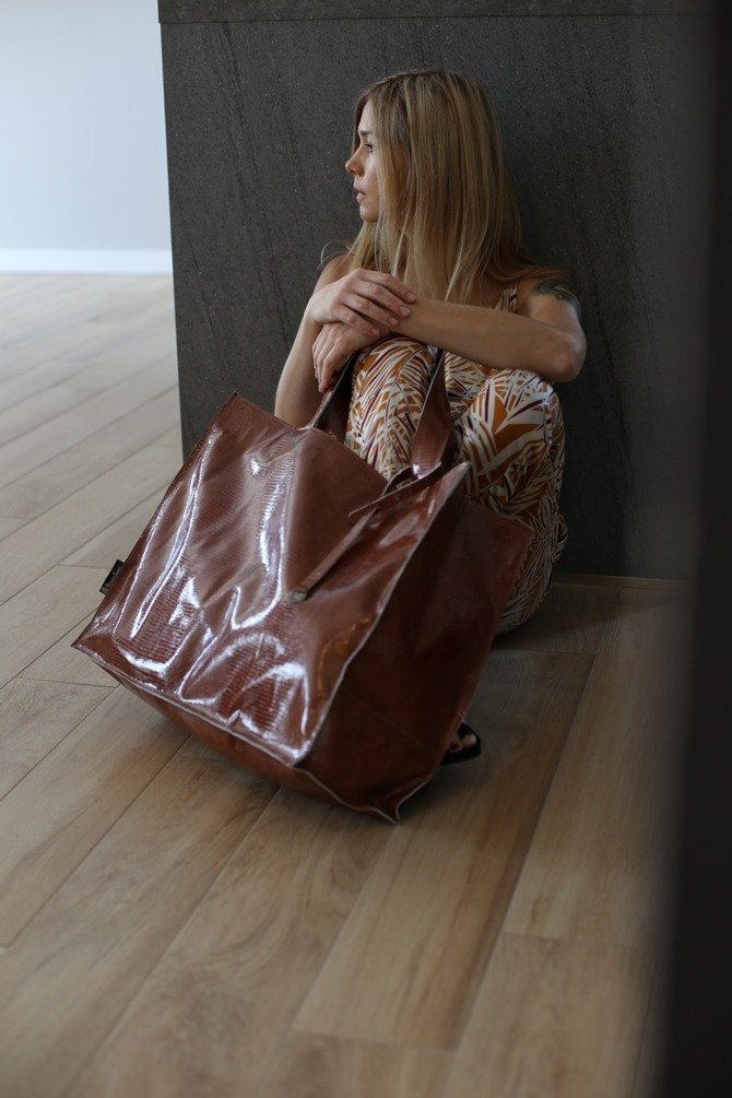 Leather shopper bag rust-colored XXL NO.105