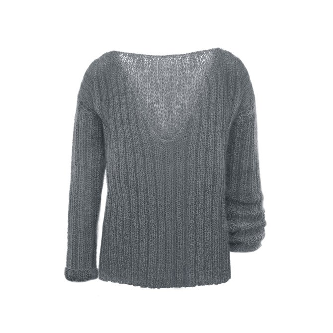 Mohair oversized sweater knitted by hand gray  NO.308