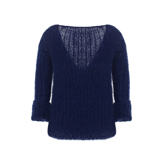 Mohair oversized sweater knitted by hand navy NO.302