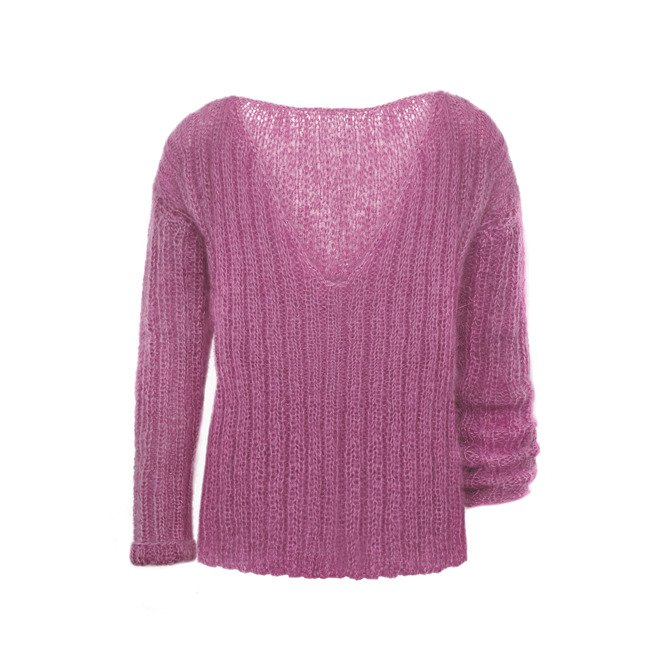 Mohair oversized sweater knitted by hand purple NO.307