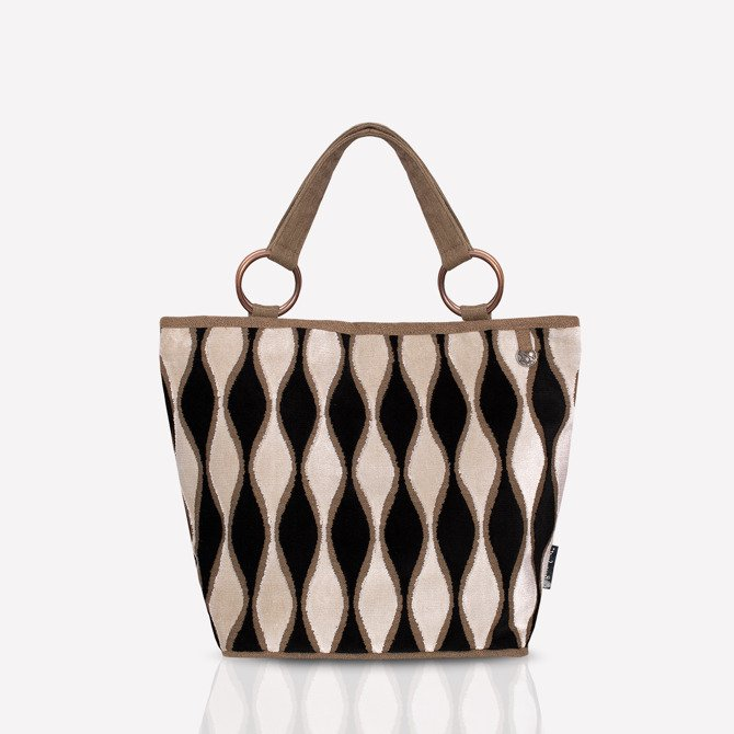 Shopper bag NO.124 black brown beige