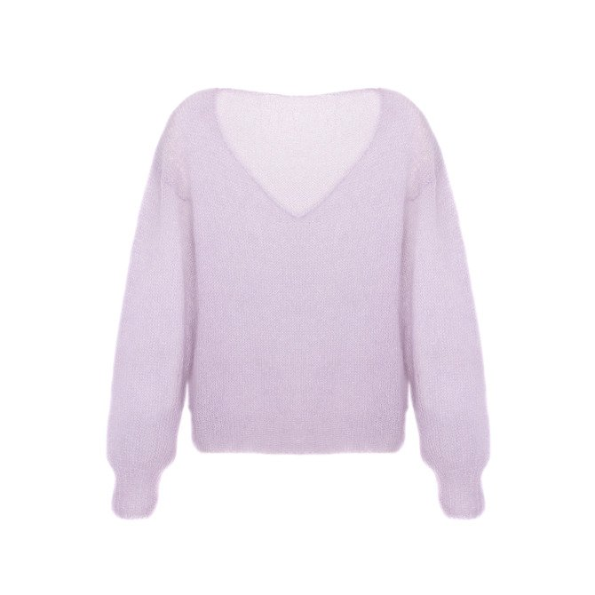 Silk soft sweater knitted by hand lilac balloon NO.303