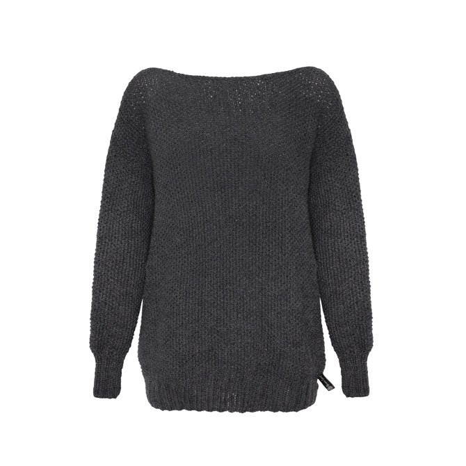 Woollen oversized sweater knitted by hand gray NO.310