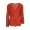 Mohair rust-colored  oversized sweater knitted by hand NO.314