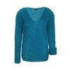 Mohair turquoise oversized sweater knitted by hand NO.315